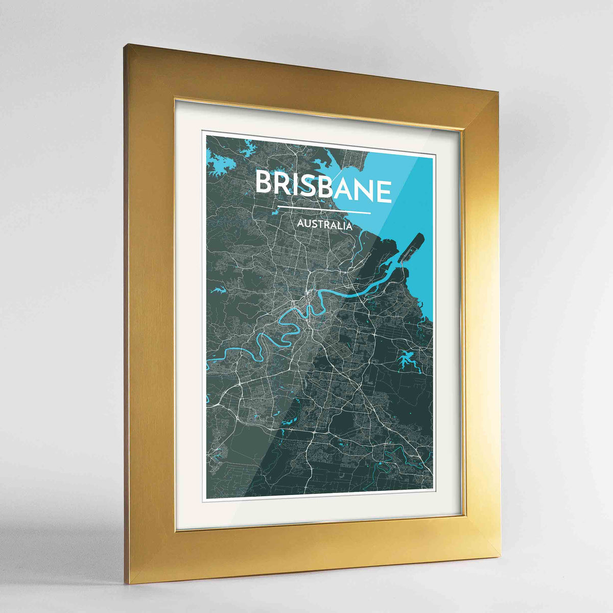 "Framed Brisbane Map Art Print 24x36"" Gold frame Point Two Design Group"