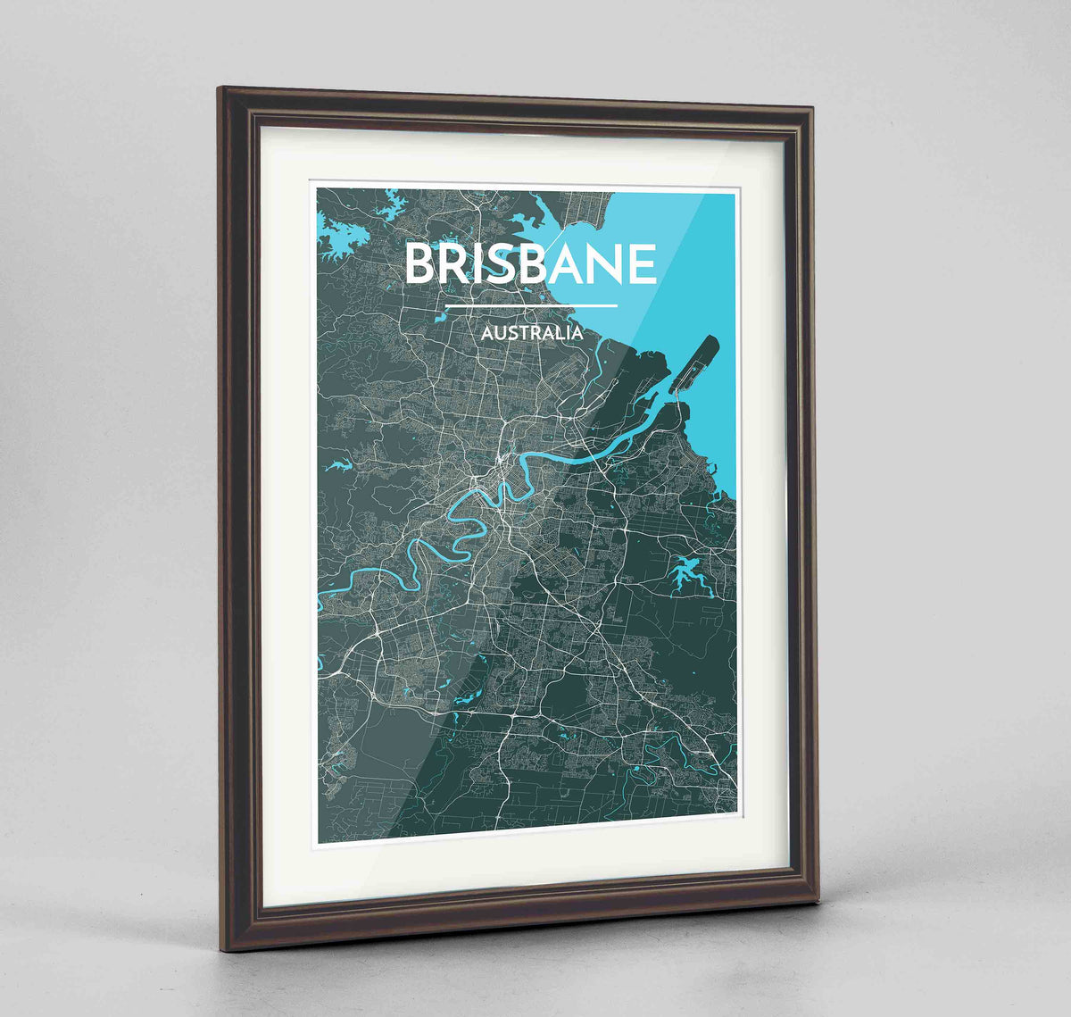"Framed Brisbane Map Art Print 24x36"" Traditional Walnut frame Point Two Design Group"