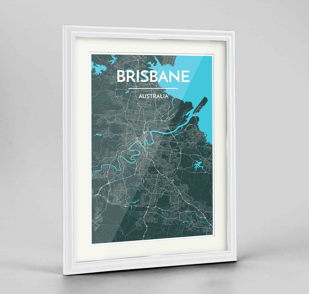 "Framed Brisbane Map Art Print 24x36"" Traditional White frame Point Two Design Group"
