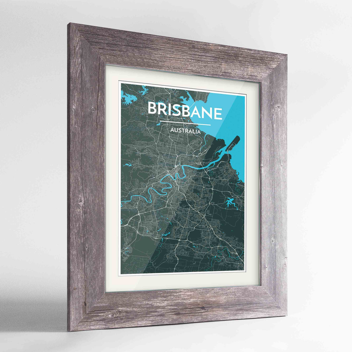 "Framed Brisbane Map Art Print 24x36"" Western Grey frame Point Two Design Group"
