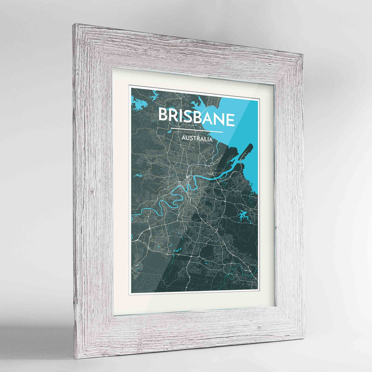 "Framed Brisbane Map Art Print 24x36"" Western White frame Point Two Design Group"