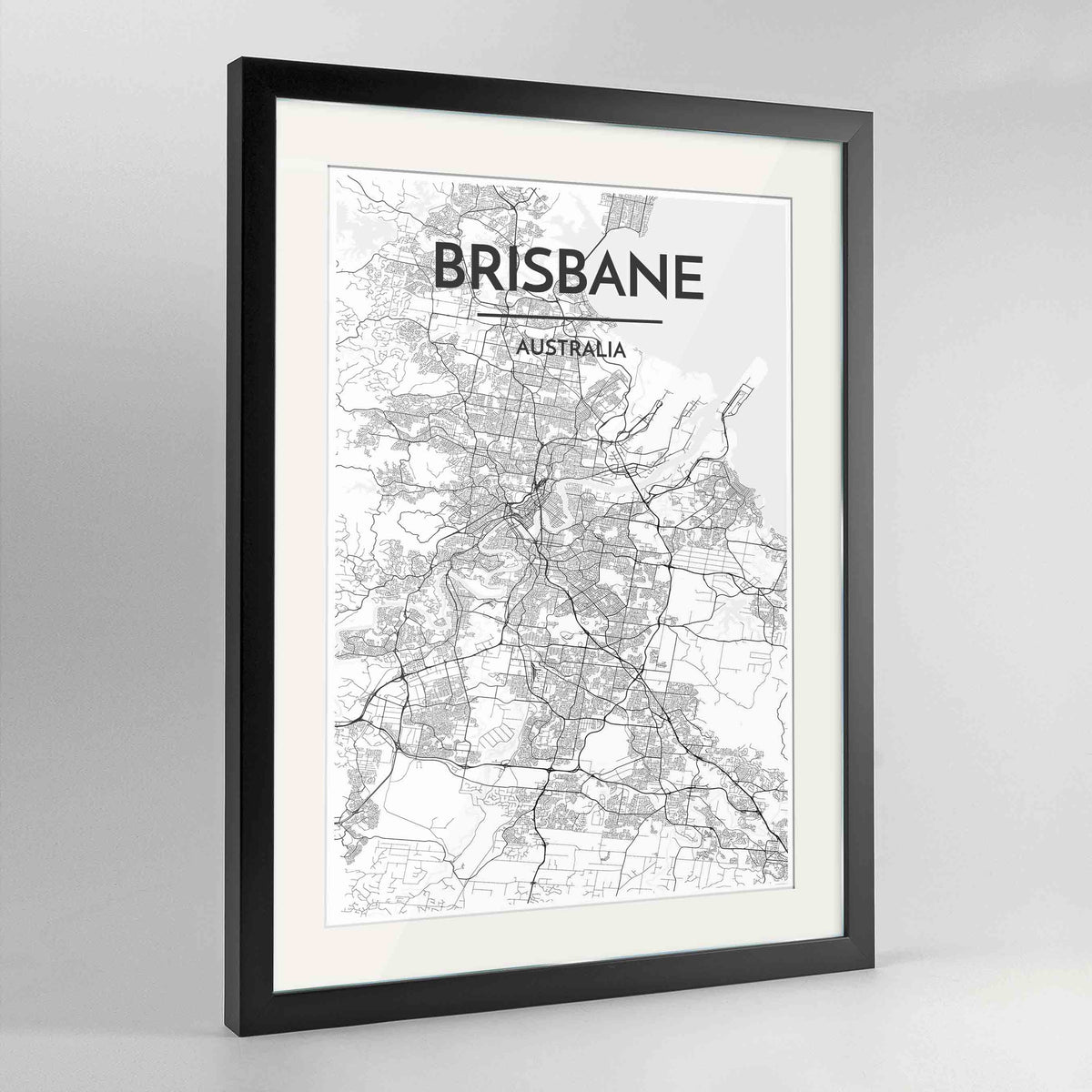 "Framed Brisbane Map Art Print 24x36"" Contemporary Black frame Point Two Design Group"