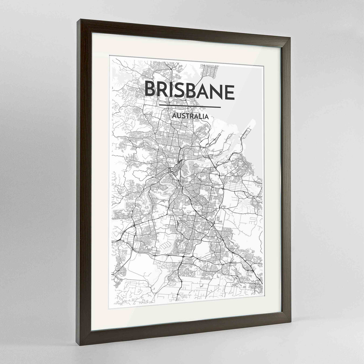 "Framed Brisbane Map Art Print 24x36"" Contemporary Walnut frame Point Two Design Group"
