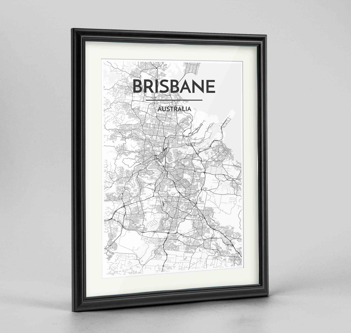 "Framed Brisbane Map Art Print 24x36"" Traditional Black frame Point Two Design Group"