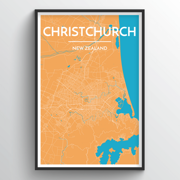 Christchurch City Map Art Print - Point Two Design