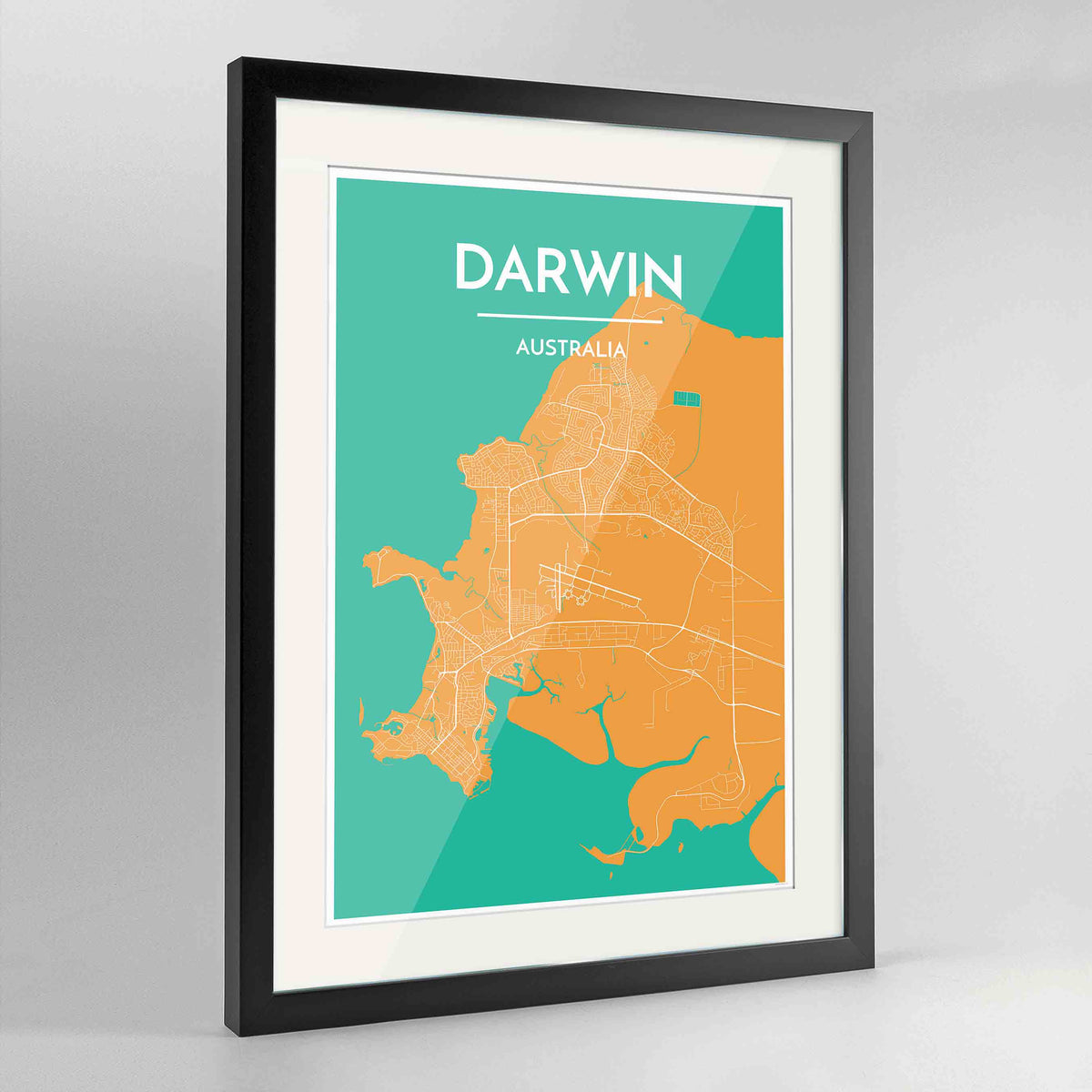 "Framed Darwin Map Art Print 24x36"" Contemporary Black frame Point Two Design Group"