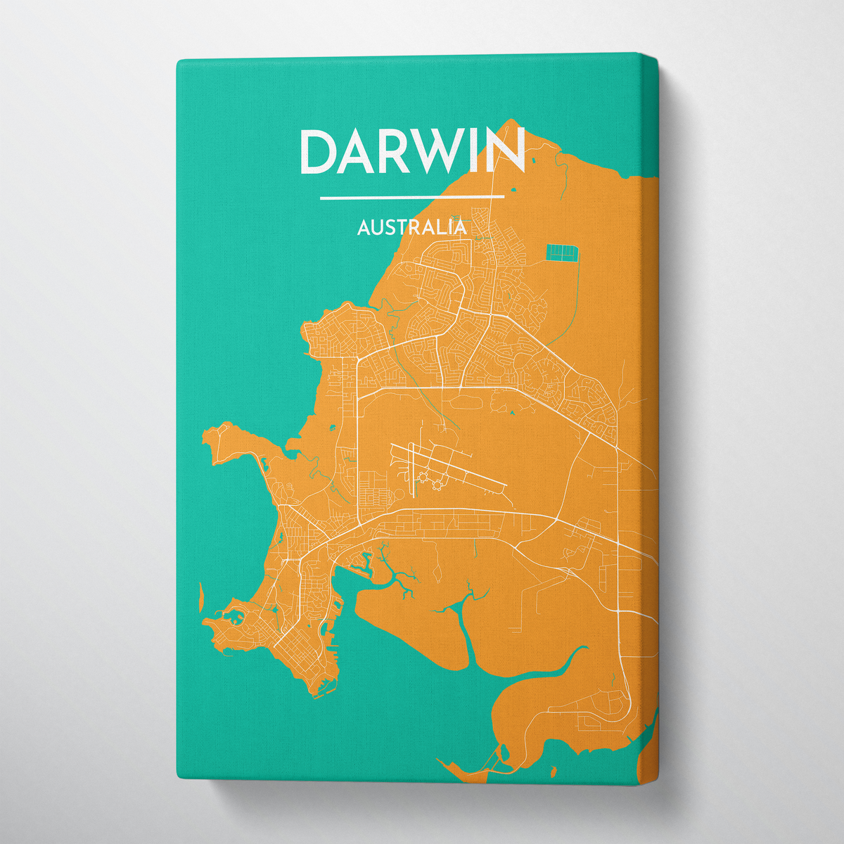 Darwin Map Canvas Wrap - Point Two Design