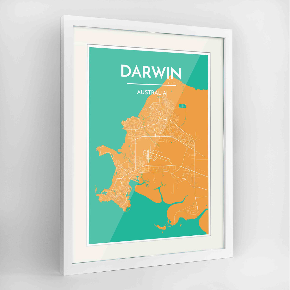 "Framed Darwin Map Art Print 24x36"" Contemporary White frame Point Two Design Group"