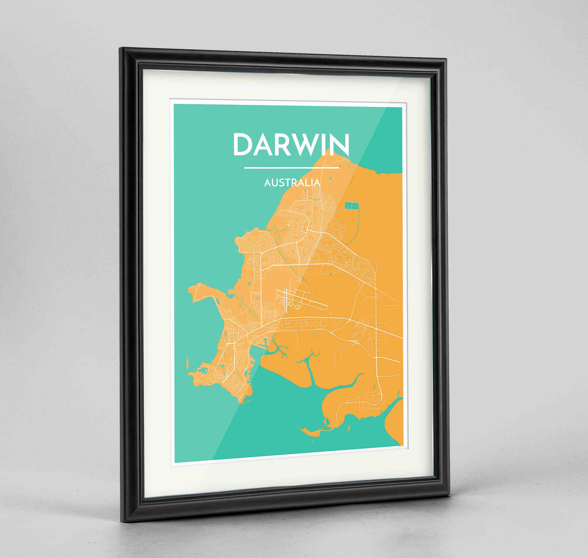 "Framed Darwin Map Art Print 24x36"" Traditional Black frame Point Two Design Group"