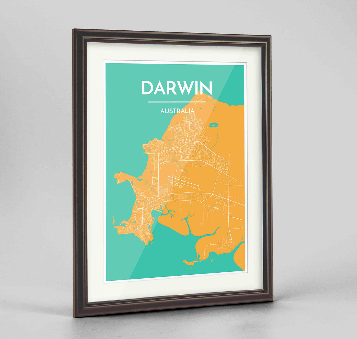 "Framed Darwin Map Art Print 24x36"" Traditional Walnut frame Point Two Design Group"