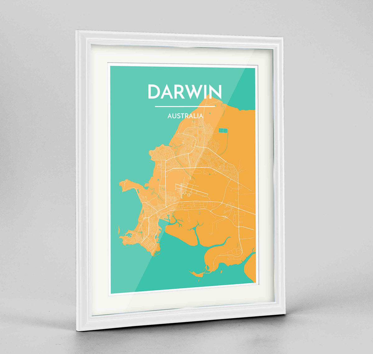 "Framed Darwin Map Art Print 24x36"" Traditional White frame Point Two Design Group"
