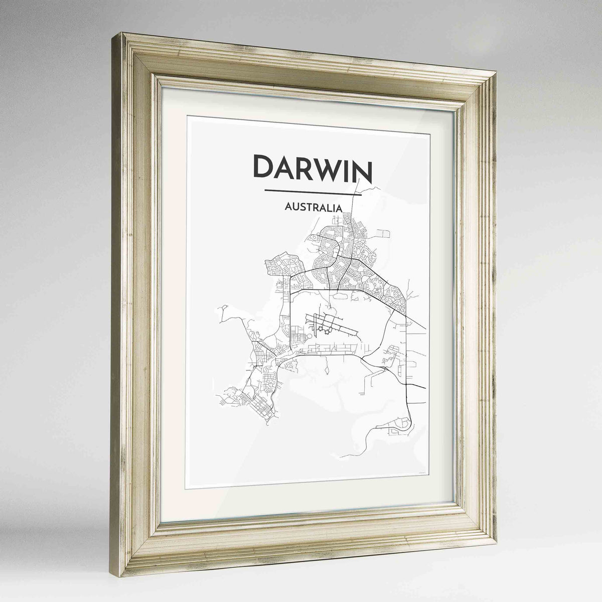 "Framed Darwin Map Art Print 24x36"" Champagne frame Point Two Design Group"