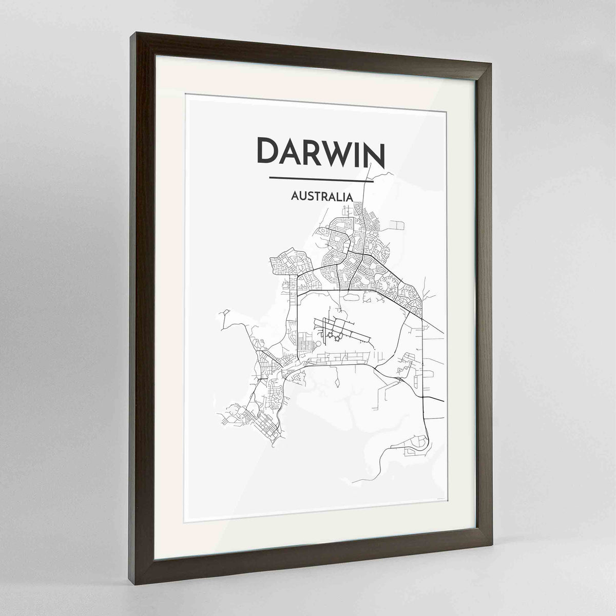 "Framed Darwin Map Art Print 24x36"" Contemporary Walnut frame Point Two Design Group"