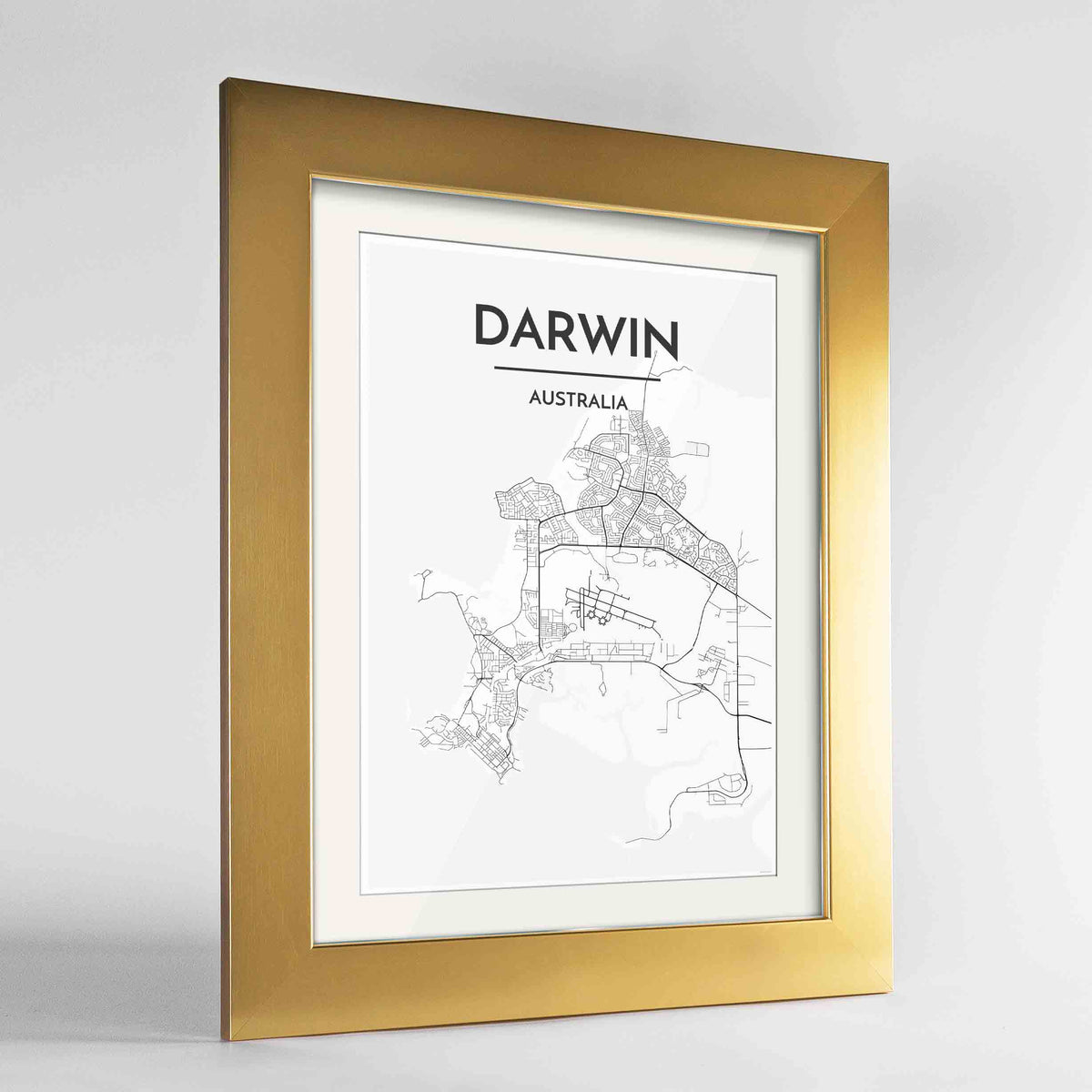 "Framed Darwin Map Art Print 24x36"" Gold frame Point Two Design Group"