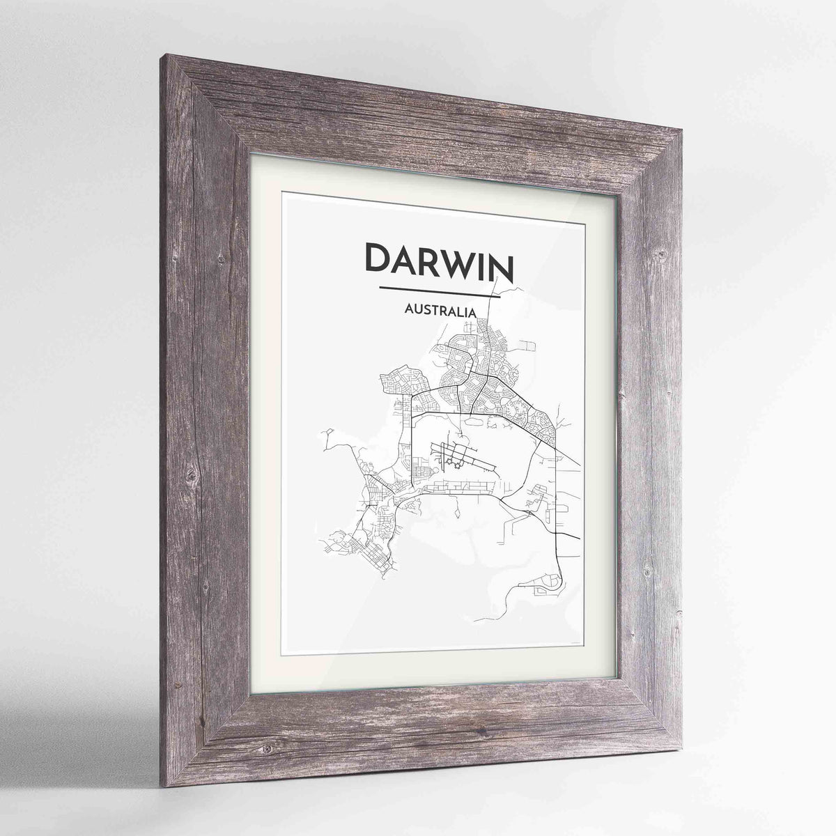 "Framed Darwin Map Art Print 24x36"" Western Grey frame Point Two Design Group"