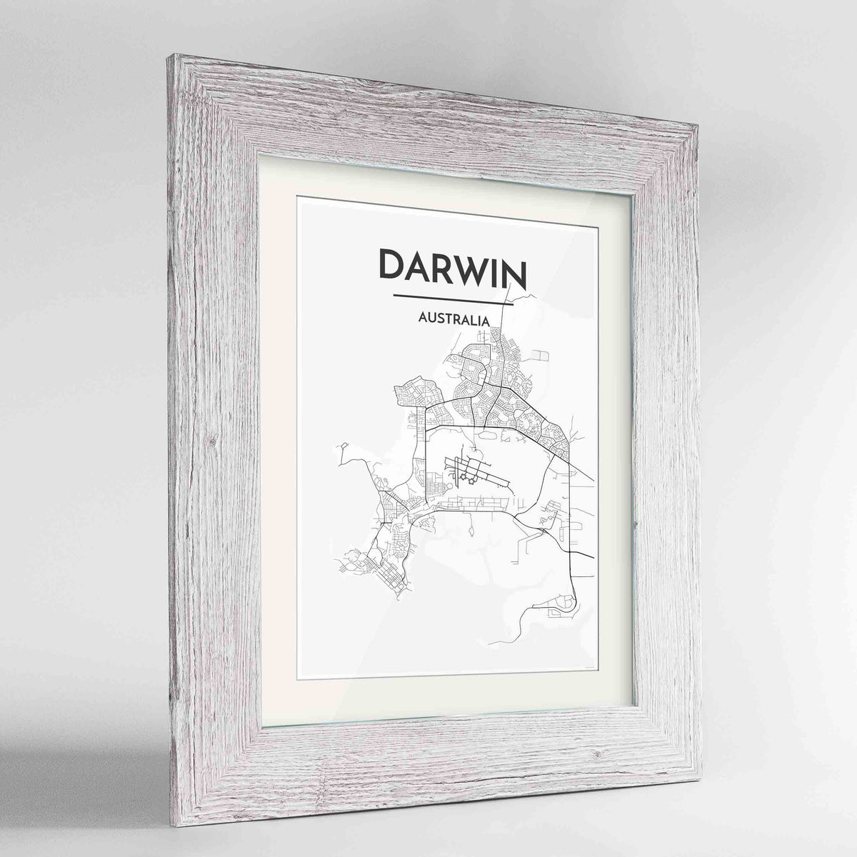 "Framed Darwin Map Art Print 24x36"" Western White frame Point Two Design Group"