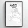 Darwin Map Art Print - Point Two Design