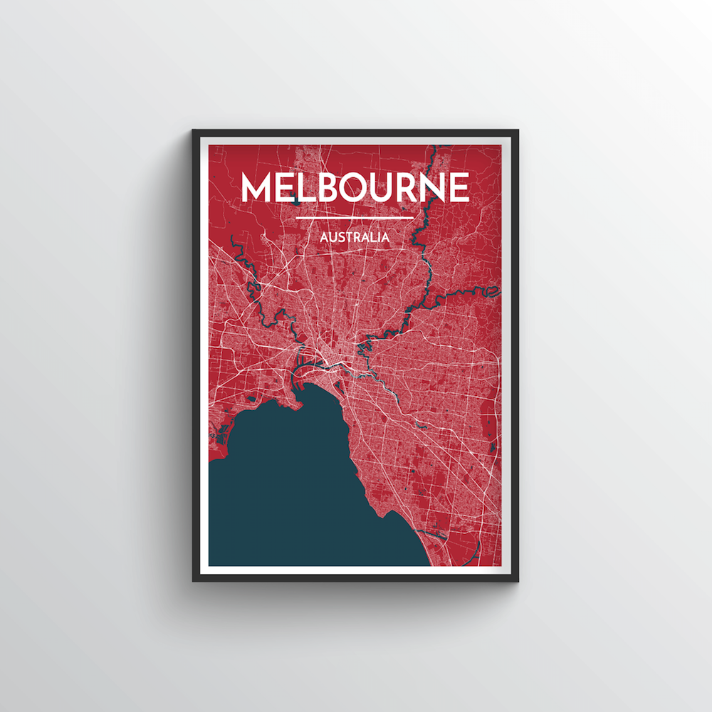 Melbourne City Map Art Print - Point Two Design - Black & White Print