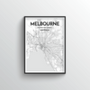 Melbourne City Map Art Print - Point Two Design