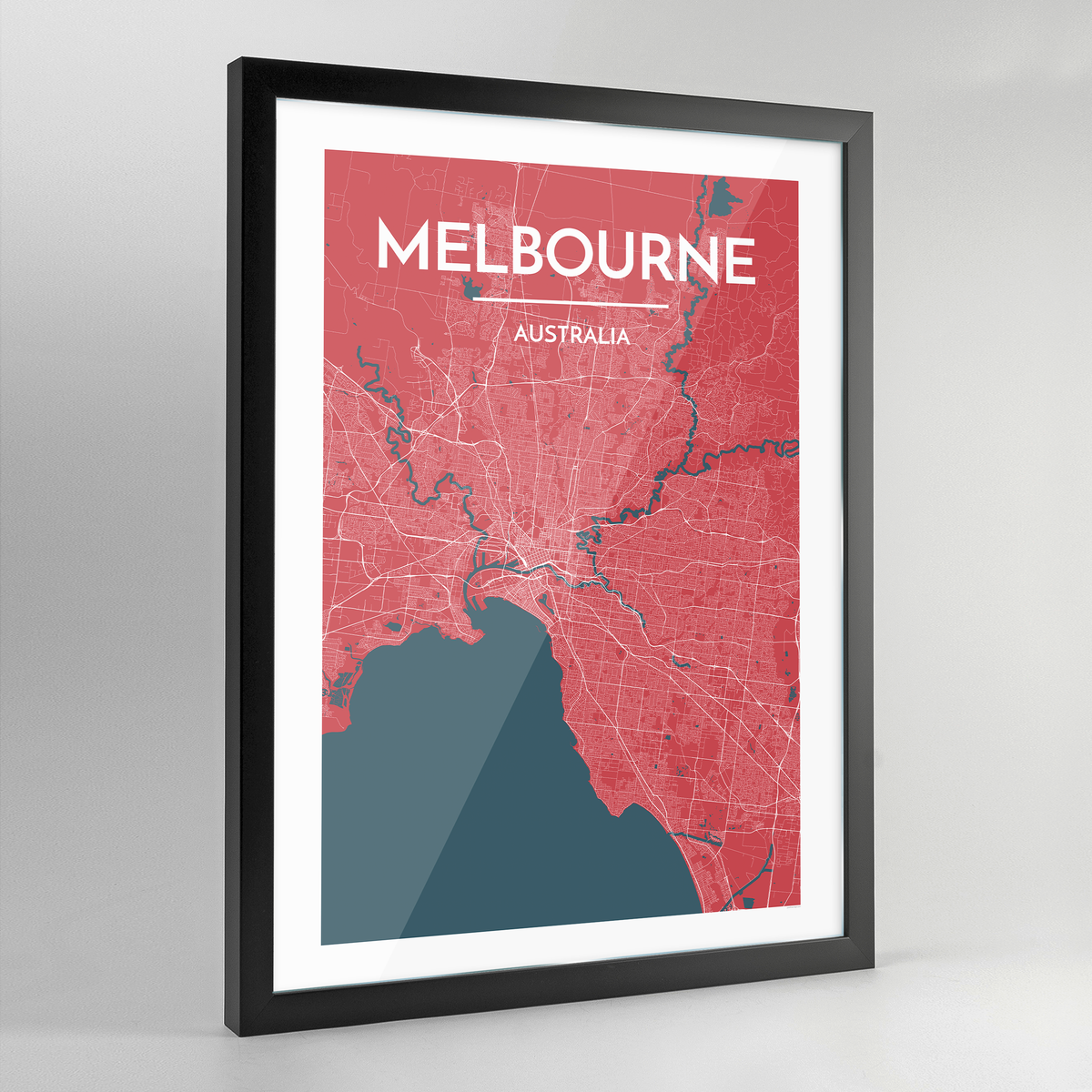 Framed Melbourne City Map Art Print - Point Two Design