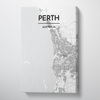 Perth City Map Canvas Wrap - Point Two Design - Black & White Print