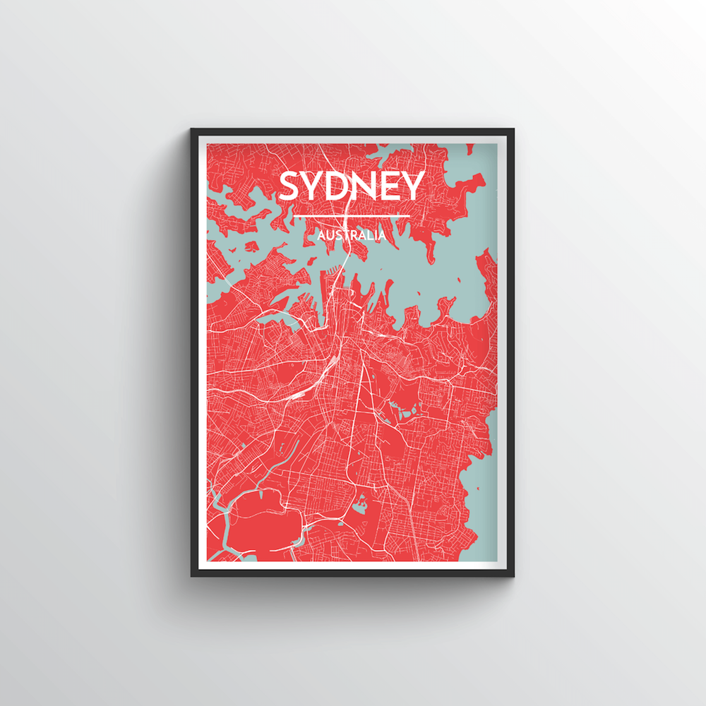 Sydney City Map Art Print - Point Two Design - Black & White Print