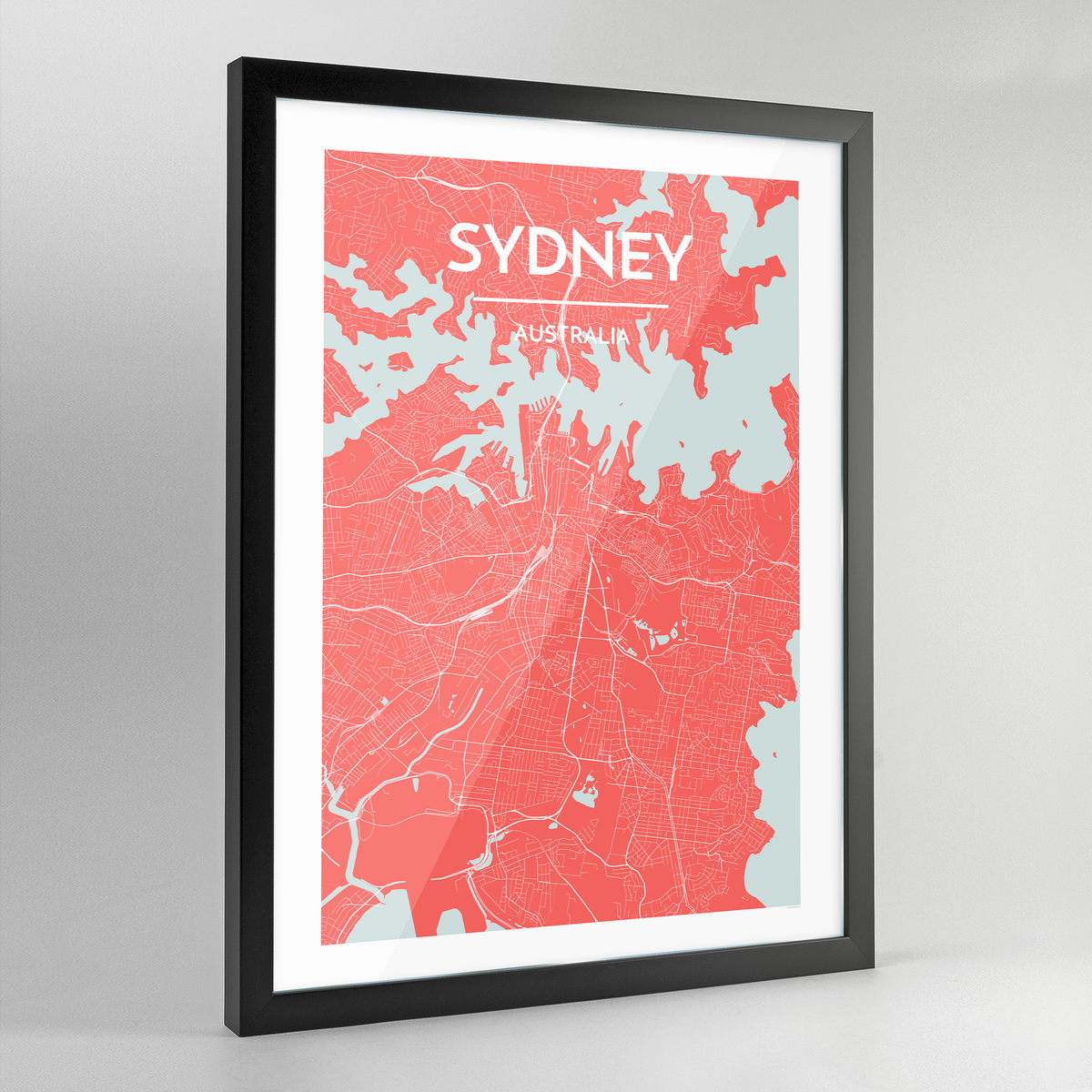 Framed Sydney City Map Art Print - Point Two Design