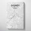 Sydney City Map Canvas Wrap - Point Two Design - Black & White Print