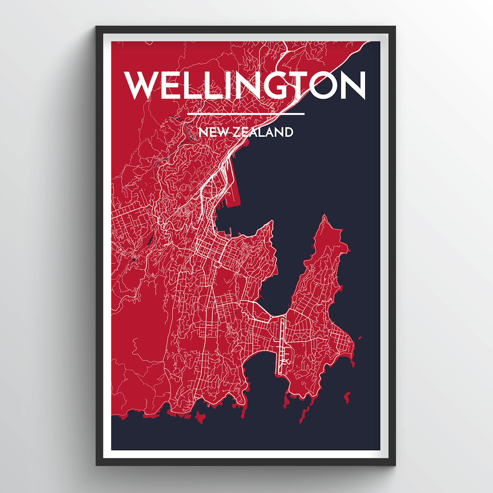 Wellington City Map Art Print - Point Two Design