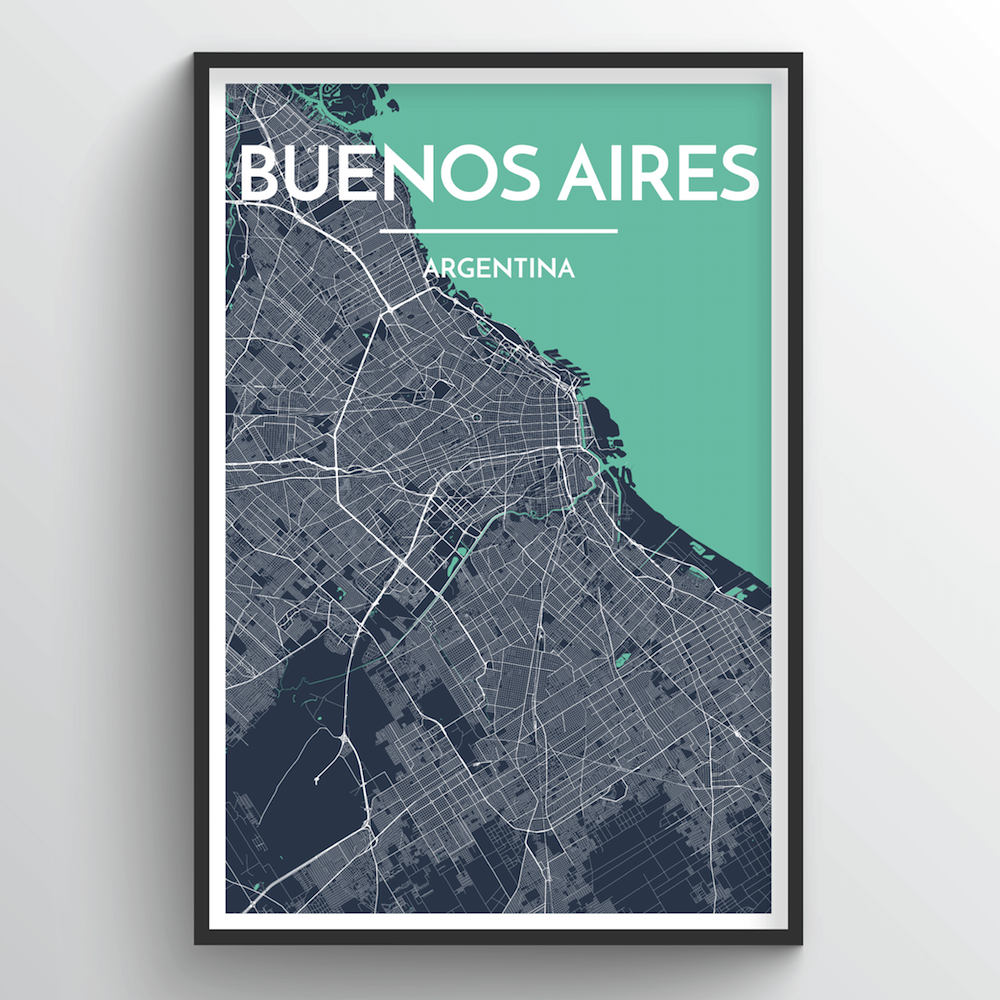 Buenos Aires City Map Art Print - Point Two Design