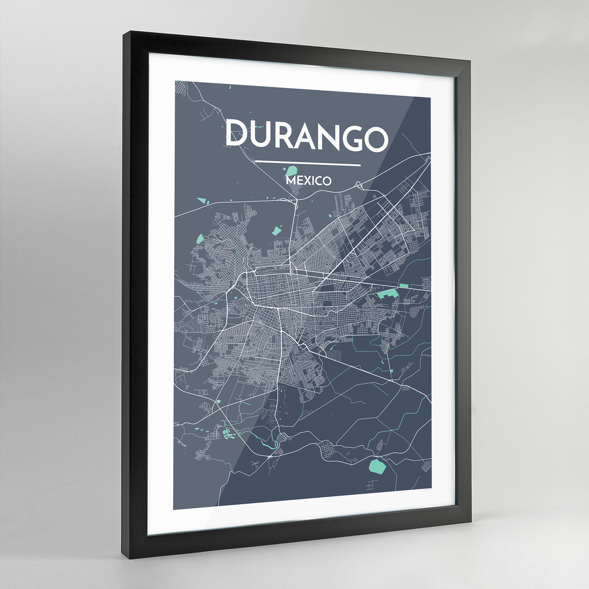 Framed Durango Map Art Print - Point Two Design