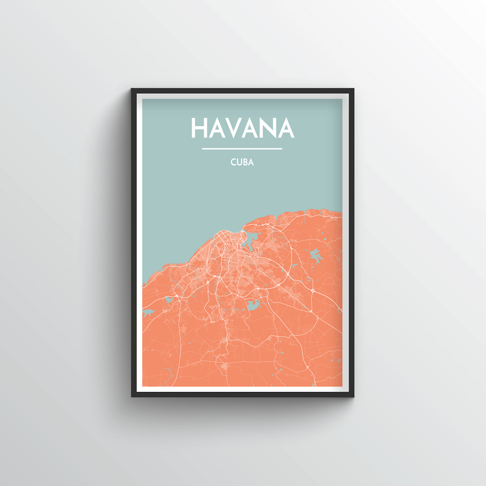 Havana City Map Art Print - Point Two Design - Black & White Print