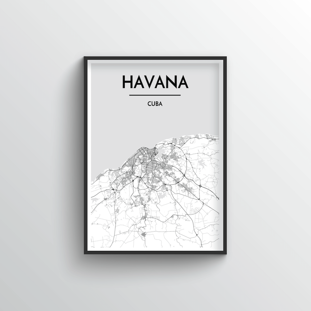 Havana City Map Art Print - Point Two Design