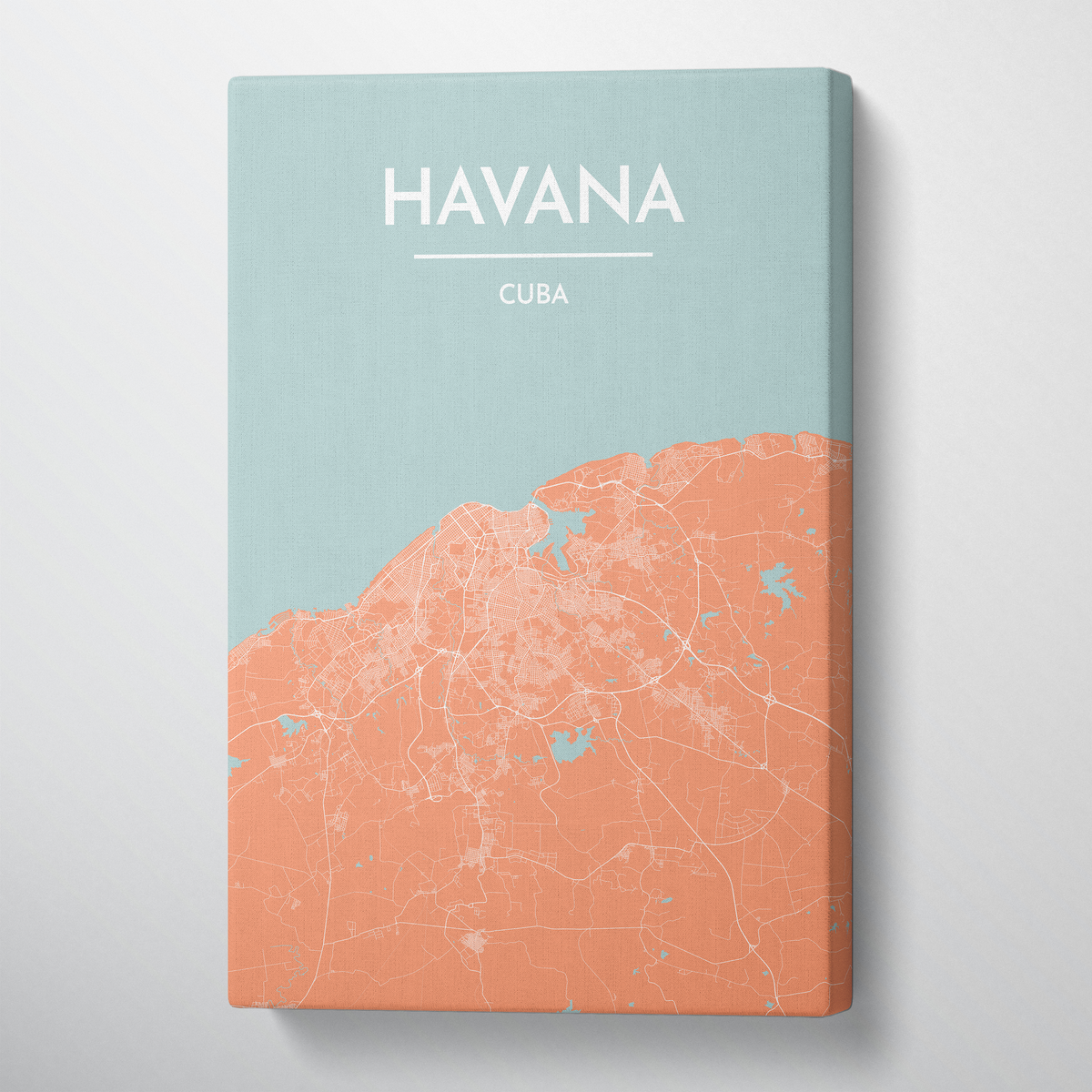 Havana City Map Canvas Wrap - Point Two Design