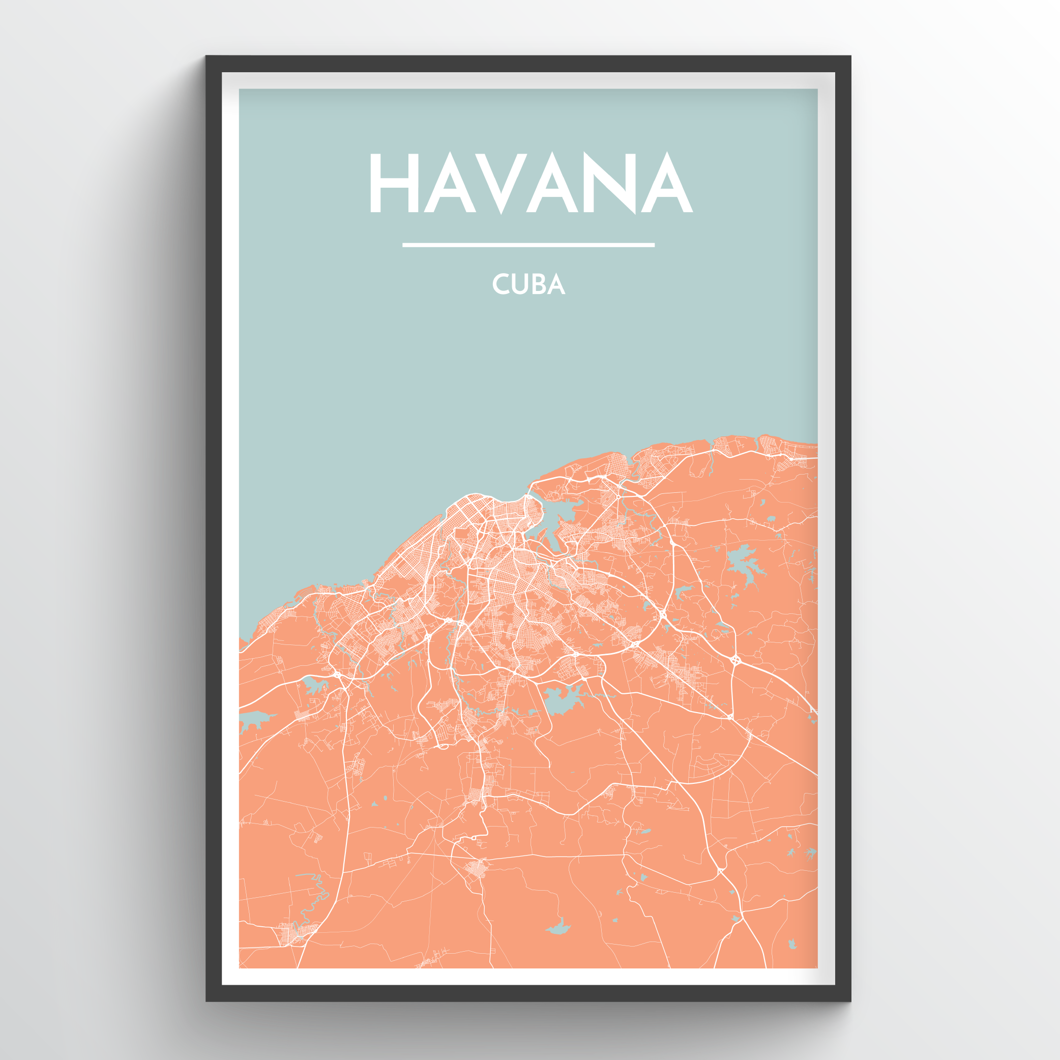 graphic relating to Printable Map of Havana identified as Havana Metropolis Map Artwork Prints - Higher Good quality Customized Produced Artwork
