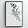 Lima City Map Art Print - Point Two Design
