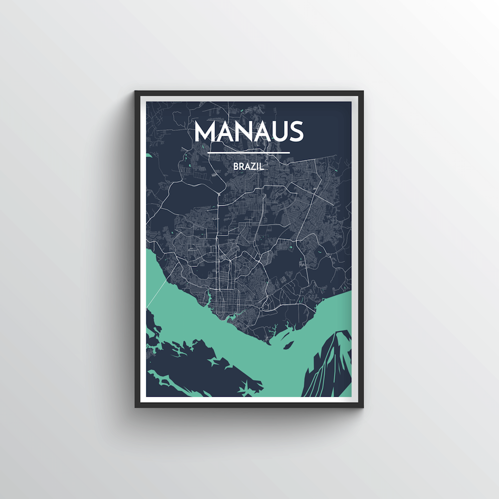 Manaus City Map Art Print - Point Two Design - Black & White Print