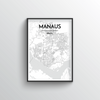 Manaus City Map Art Print - Point Two Design