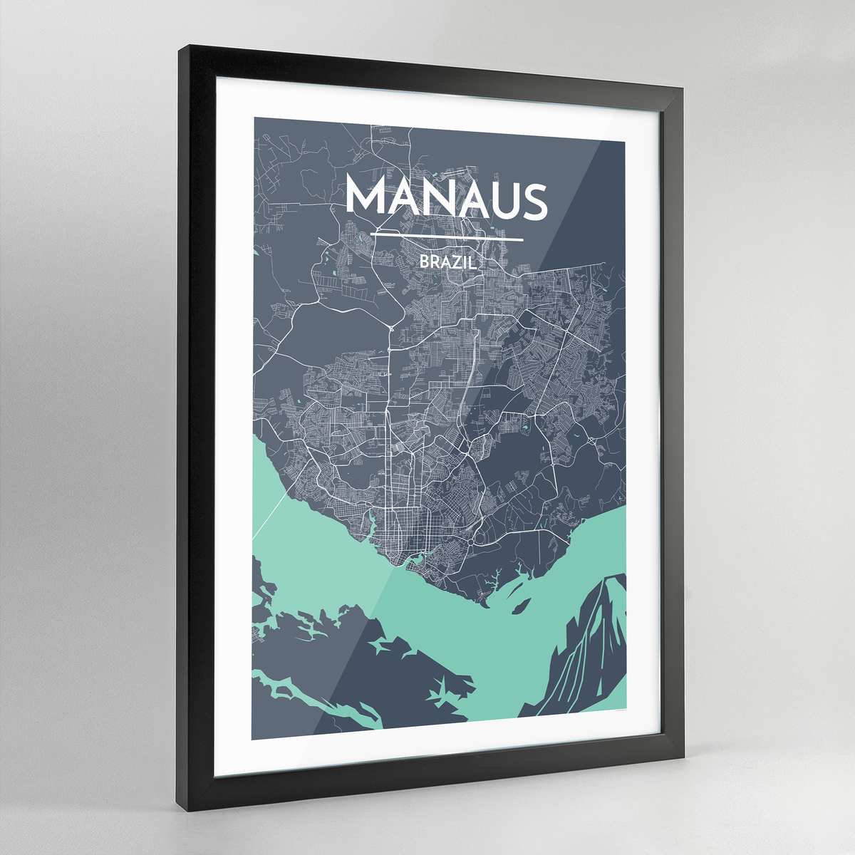 Framed Manaus City Map Art Print - Point Two Design