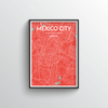 Mexico City Map Art Print - Point Two Design - Black & White Print