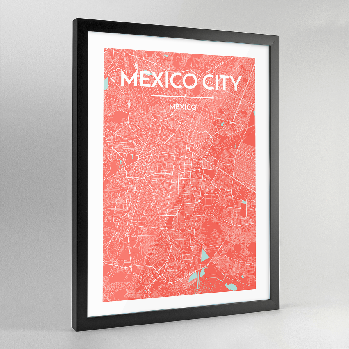 Framed Mexico City Map Art Print - Point Two Design