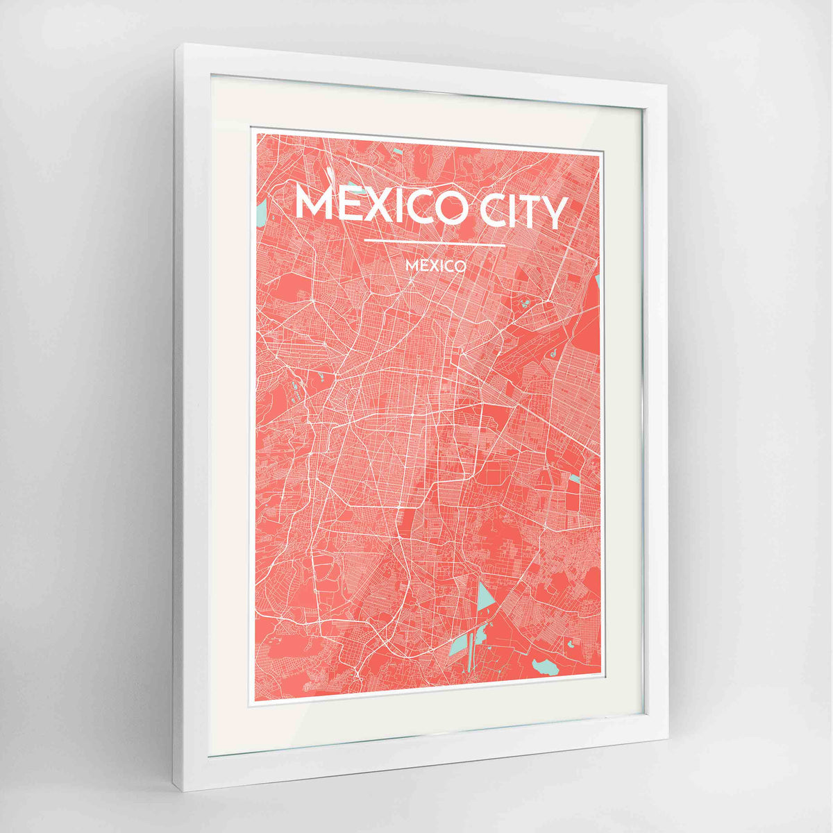 "Framed Mexico City Map Art Print 24x36"" Contemporary White frame Point Two Design Group"