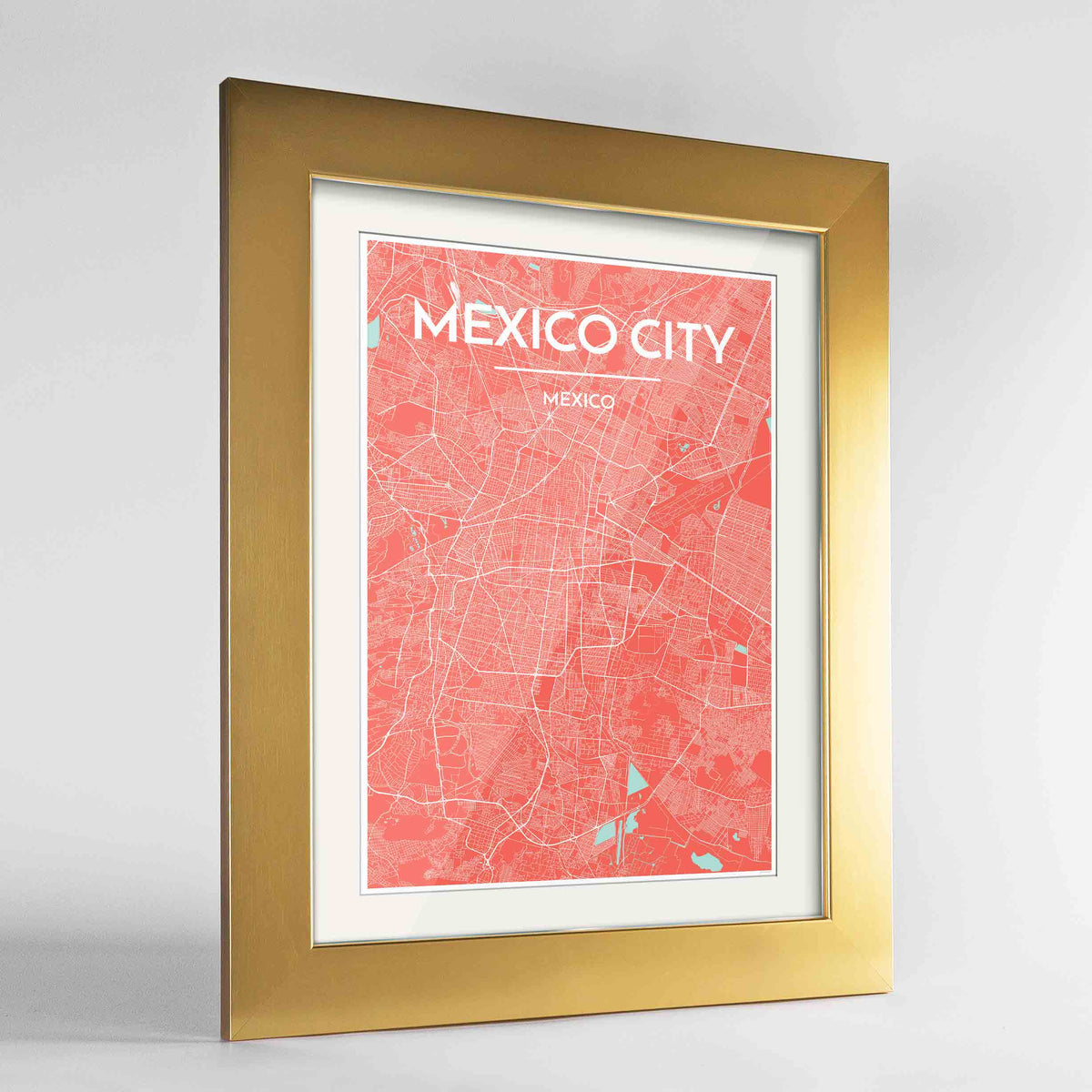 "Framed Mexico City Map Art Print 24x36"" Gold frame Point Two Design Group"