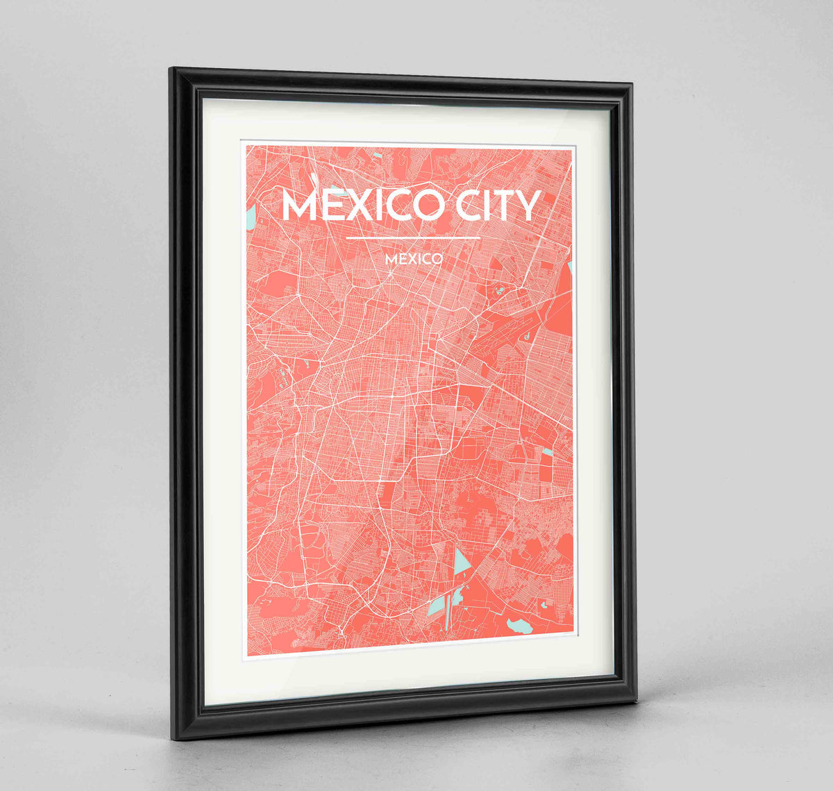 "Framed Mexico City Map Art Print 24x36"" Traditional Black frame Point Two Design Group"