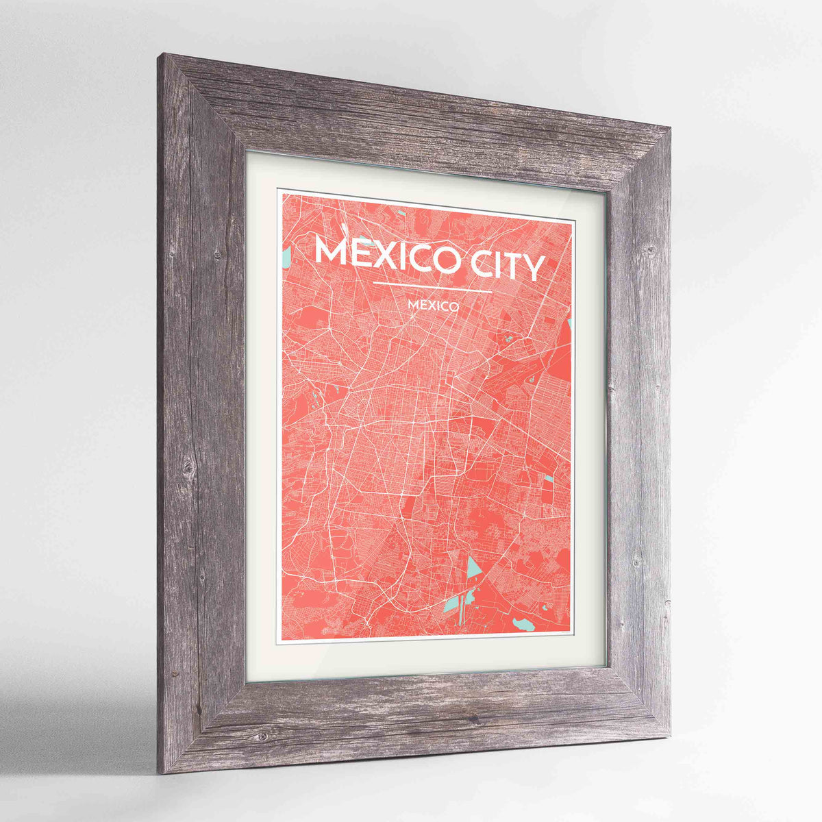 "Framed Mexico City Map Art Print 24x36"" Western Grey frame Point Two Design Group"