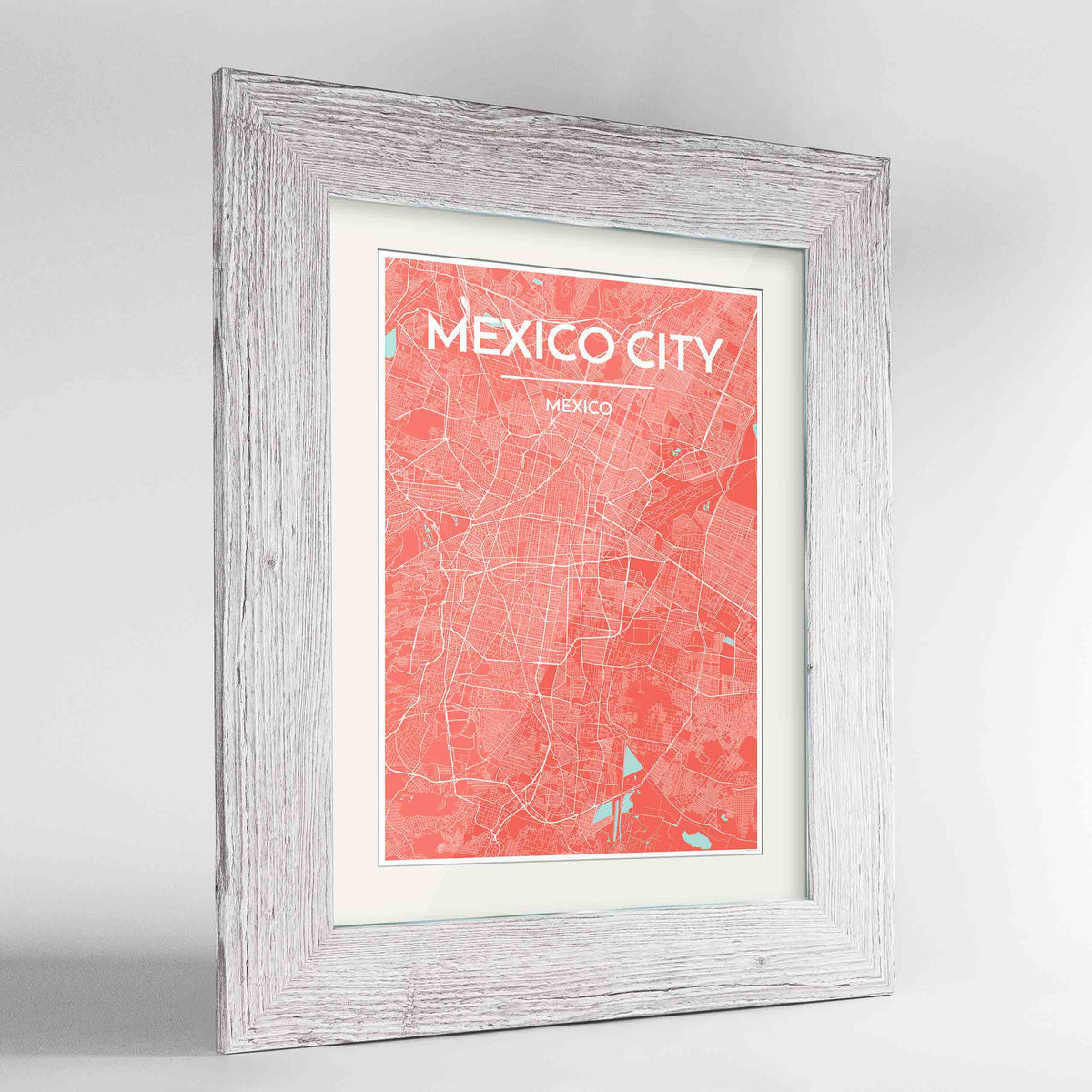 "Framed Mexico City Map Art Print 24x36"" Western White frame Point Two Design Group"