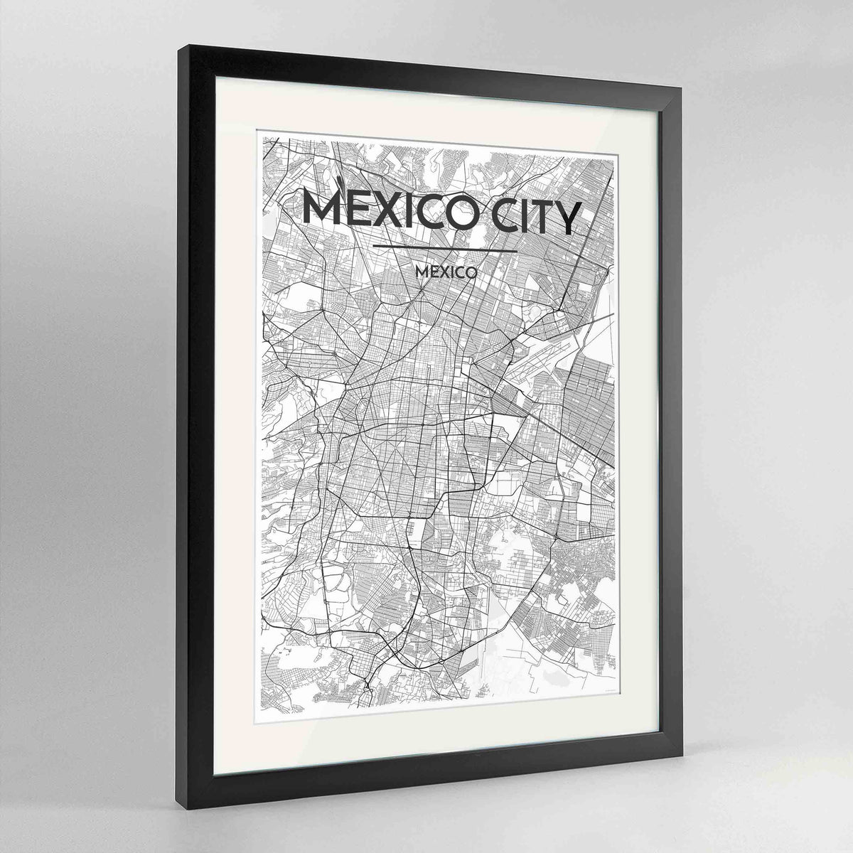 "Framed Mexico City Map Art Print 24x36"" Contemporary Black frame Point Two Design Group"