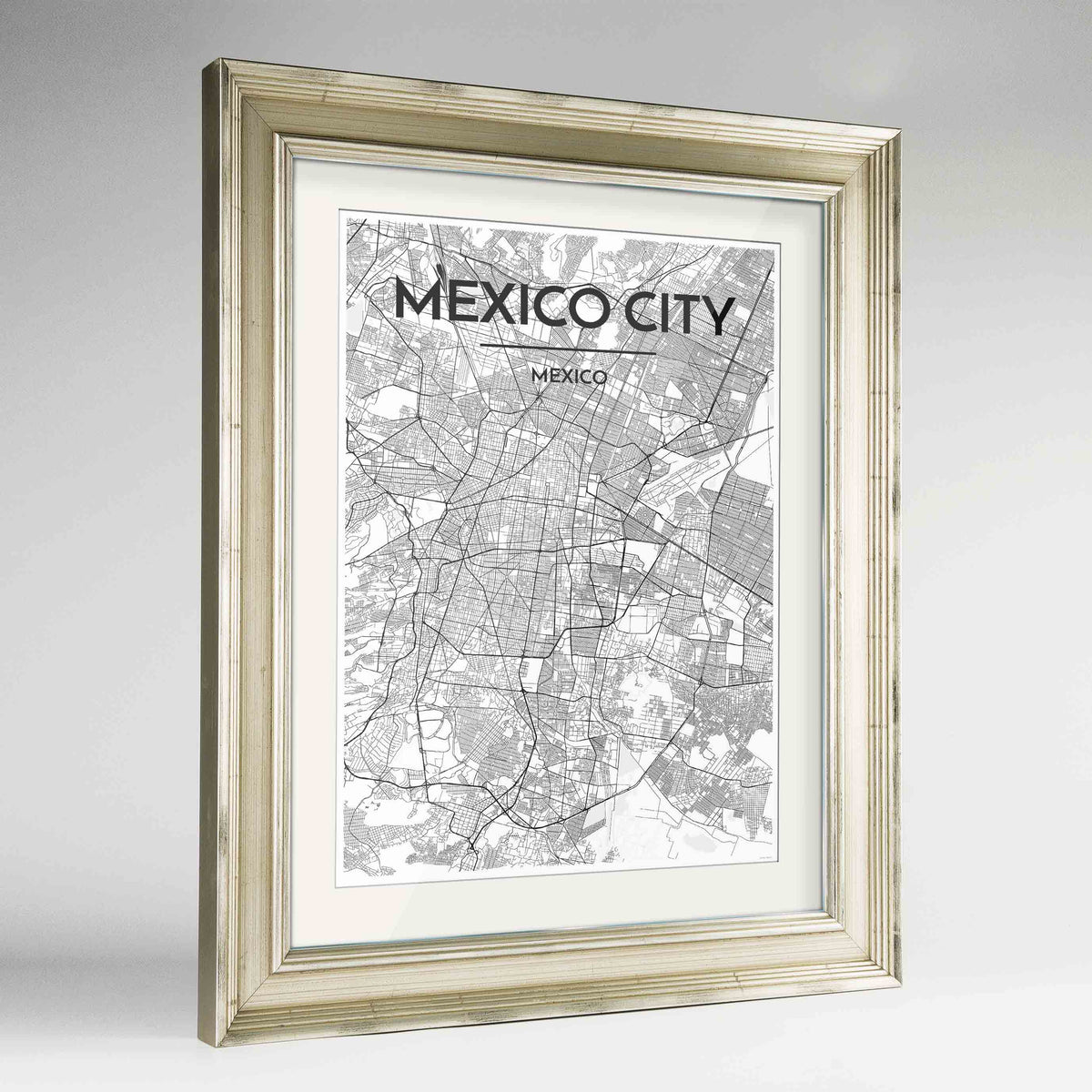 "Framed Mexico City Map Art Print 24x36"" Champagne frame Point Two Design Group"