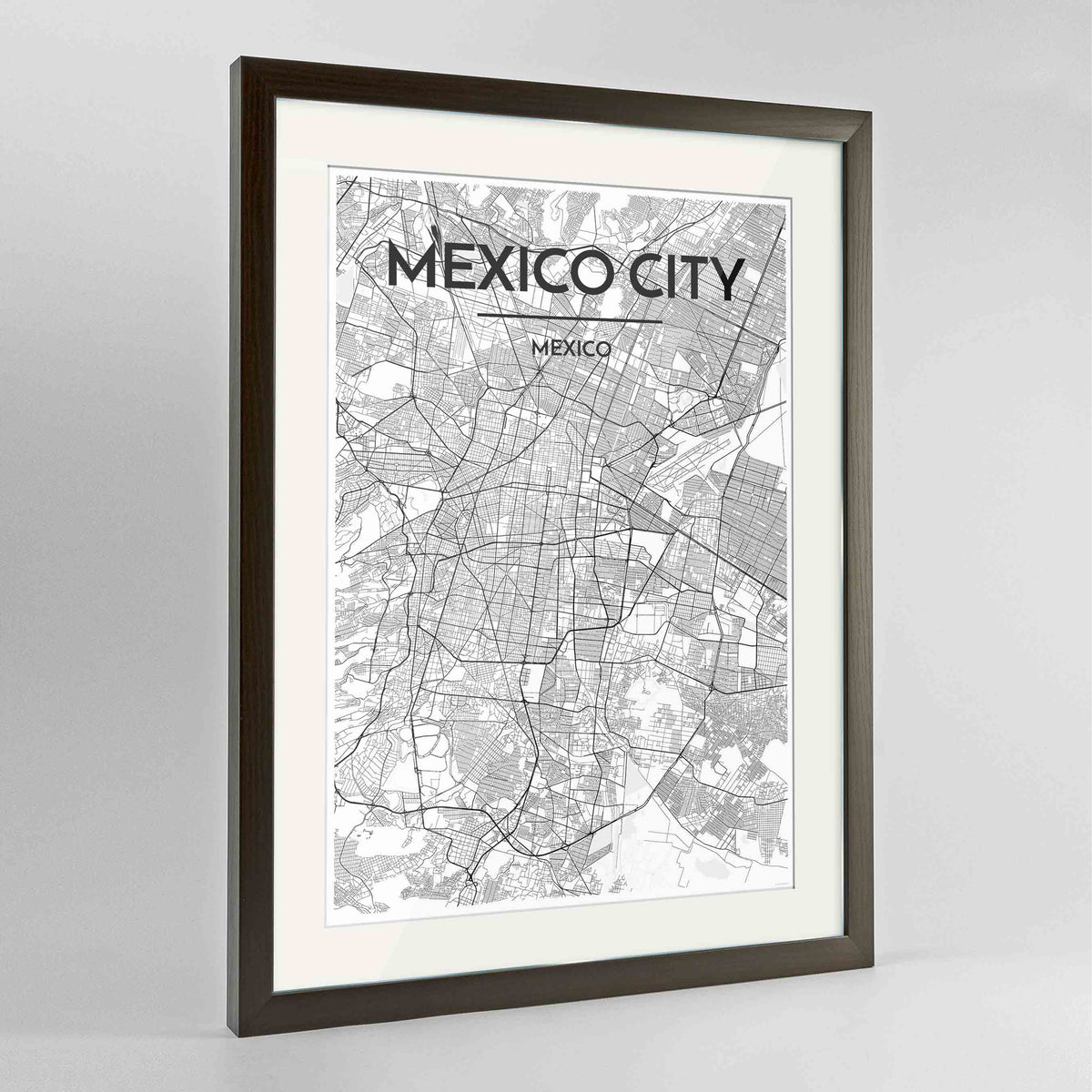 "Framed Mexico City Map Art Print 24x36"" Contemporary Walnut frame Point Two Design Group"