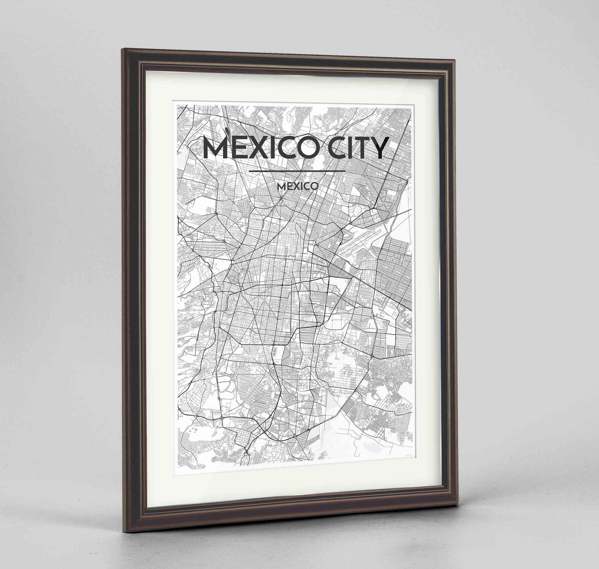 "Framed Mexico City Map Art Print 24x36"" Traditional Walnut frame Point Two Design Group"